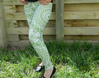 Avocado Leggings, Green Yoga Leggings, Yoga Pants, Green and White Mandala Art Tights, Stretch Pants