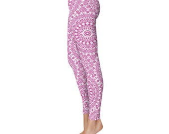 Fitness Leggings, Magenta Yoga Leggings, Fuchsia Leggings, Hot Pink and White Printed Leggings