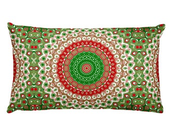 Red and Green Pillows, Lumbar Christmas Pillow, 20x12 Holiday Pillows, Festive Christmas Decor for Home