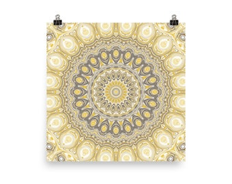 Funky Wall Art, Mustard Yellow and Gray Mandala Art Poster Prints, Square Wall Decor