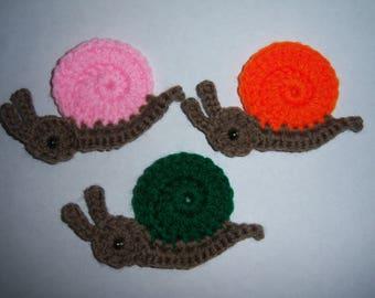 Details about  Crochet snail appliques,embellishment,scrapbooking,sewing set 1
