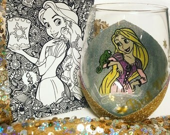 Hand sparkled character wine glass