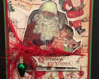 Funny Awkward Christmas Card 3D Crying Girl on Santa Lap Charm OOAK Stampin Up Mixed Media Handmade