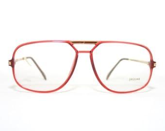 Jaguar Mod 571 Aviator Men's Eyeglasses Red Gold Large Sized New Old Stock Condition Eye Glasses Men's Man FREE SHIPPING Rx Him