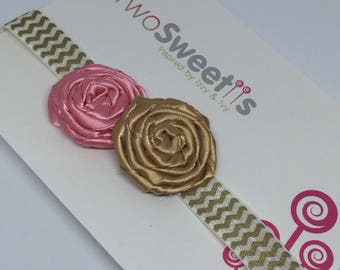 Pink and Gold Rosette Headband