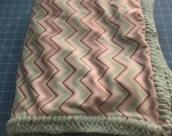 Minky Chevron Blanket with Crochet Edging
