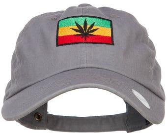 Rasta Leaf Flag Embroidered Unstructured Cap