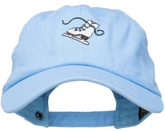 Ice Skate Embroidered Unstructured Cap