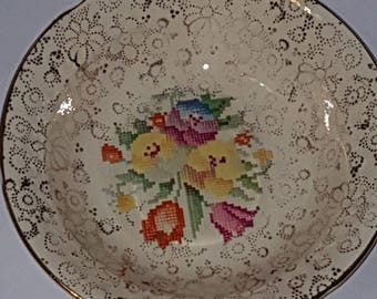 NEW PRICE H&K Tunstall floral trinket dish floral tapestry trinket dish, floral trinket, knick knack, gift for her, collectable, collectible