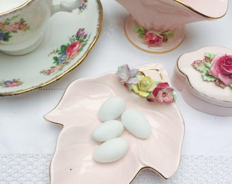 Charming Set of Two Prettiest Pink Hand Painted Vintage Adderley Floral Ring Dish, Pin Dish, Jewelry Dish & Bowl