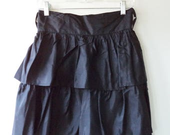 Rad 80s high waist party skirt// Black taffeta mid length ruffled cocktail evening// Vintage Christina USA made// Small S 27 W 5-6 US