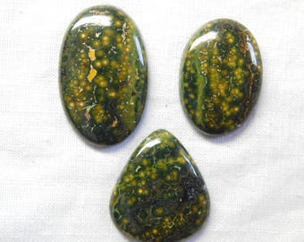 100% NATURAL Mohave Ocean jasper mix 3 piece cabochone superb gemstone 143.0cts