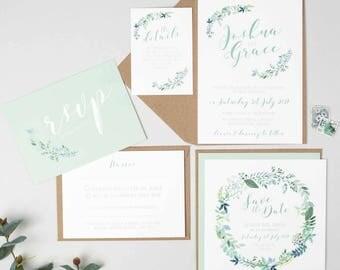 Botanical Wedding Invitation Suite -  Floral Wedding Invite Bundle - Wedding Stationery - Invitation Suite - Garden Wedding