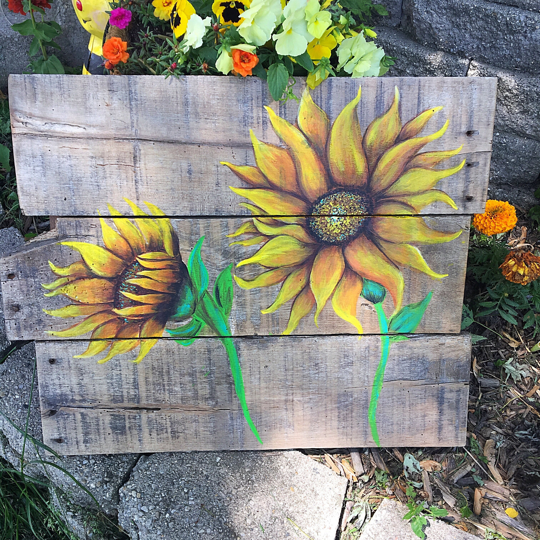 Sunflower painting reclaimed wood sunflower painting for Mural art on wood