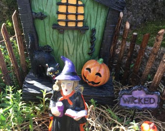 Miniature Halloween Door, Miniature Witch Door, Halloween , Witch