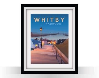 Whitby Harbour - Retro Travel Poster