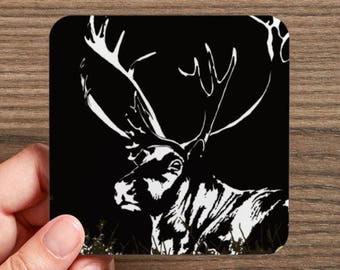 4 Coasters set, reindeer coasters set, caribu, caribou, reindeer image, reindeer illustration, caribou image, caribou drawing