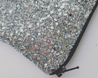 Silver Glitter bag make up clutch party evening bag