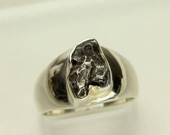 Meteorite Silver Ring, Genuine Meteor, Sterling Silver Band, Mens Ring, Unisex Ring