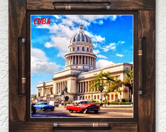 Wooden/wood domino table top-Capitolio Havana/Habana Cuba-Made in USA