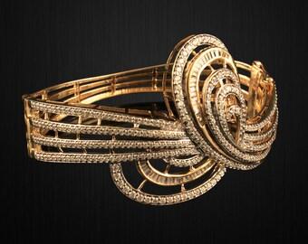 Gold Plated Sterling Silver Broad Swirl Cz Bracelet