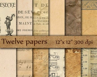 "40% OFF Old papers digital: ""OLD NOTEBOOK Papers"" antique papers , vintage papers , old newspapers , grunge aged papers"