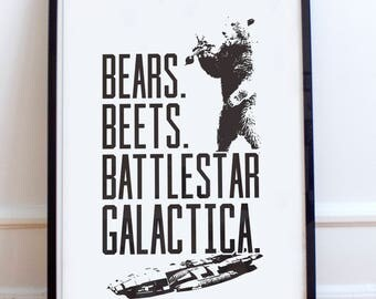 Bears. Beets. Battlestar Galactica. poster print- The office inspired poster print, dwight, Jim, The office USA