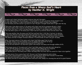 Pieces from a Weary Soul's Heart - Printable Poetry Instant Download
