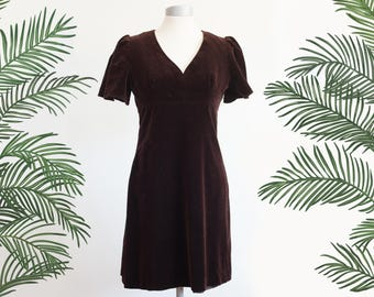Dark brown velvet dress / Vintage coctail dress / Betty Barclay / Puff shoulders