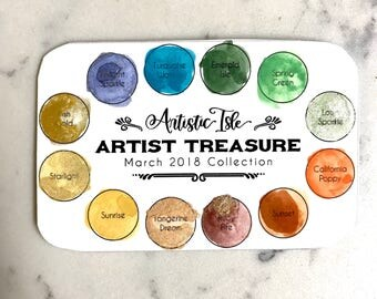 Watercolor, watercolor set, Artist treasure, march set, travel palette, watercolor palette, handmade watercolor, paint