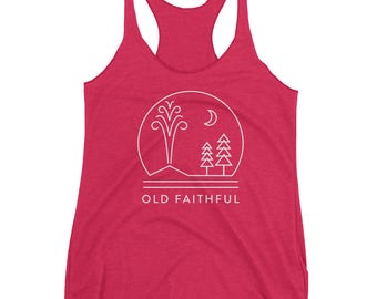 Yellowstone National Park Women's Racerback Tank featuring Old Faithful