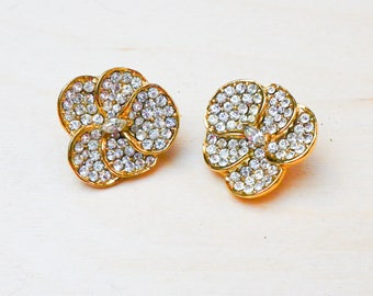 Vintage Signed Corocraft Pave Pansy Rhinestone Clip Earrings