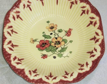 Vintage 1930s Crown Potteries Co Vegetable Serving Dish Poppies pattern
