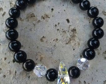 Energized bracelet Protection and well-being in onyx, Swarovski Crystal and Sterling Silver 925