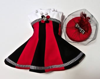 18 inch Doll Clothes. Handmade Girl Doll Clothes. Harley Quinn Costume, Pillbox Hat, 1950s Dress. Fifties Dress. Gored Dress. 1950s Hat