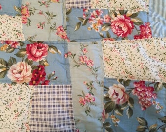 Shabby Chic Blue & Pink Rose Quilt-Full Sized