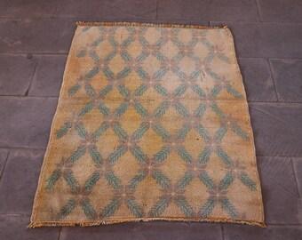 Small Size Oushak Rug, 2.9 x 3.8 Feet, FREE SHIPPING, Bohemian Rug, Ethnic Rug, Anatolian Rug, Rustic Rug, Handknotted Wool Rug No 1292