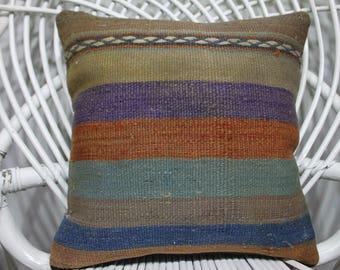 Small Kilim Pillow Cover14x14 Turkish Kilim Pillow Ethnic Kilim Pillow , Vintage Kilim Pillow ,Striped Cushion Cover ,Decorative Pillows 210