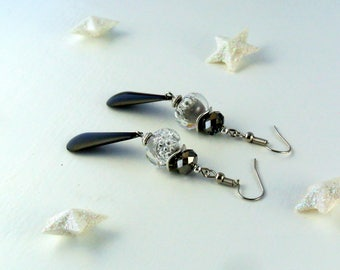 "Earrings ""Black"" black and silver"