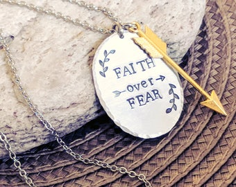 Faith over fear, Faith necklace, Faith, Inspirational gift, Inspirational, Jewelry, Religious gift, Religious jewelry, Christian gifts