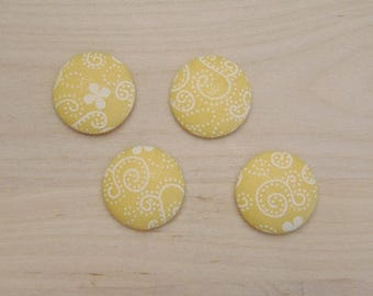 x 4 cabochons 20mm yellow and white ref fabric C-26