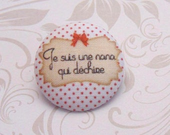 x 1 19mm fabric button I'm a girl who rocks ref A30