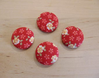 x 4 cabochons 20mm red ref TOUR1 floral fabric