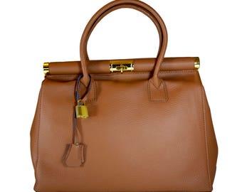 LAFatima Brown Leather Bag/Office Bag/Tote Bag/Leather Bag/Large Leather Tote Bag/Made in Italy/Leather Work Bag/Handmade Leather Bag