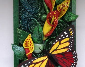 Paper clay mixed media wall art, Flowers and Butterfly