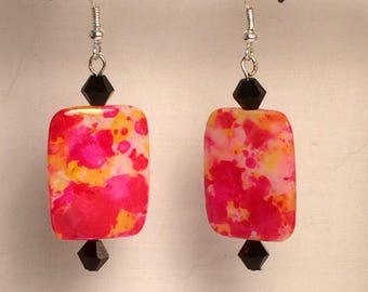 Bright Colors Glass Squares with Black Beads