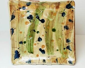 Handmade Abstract Square Platter, Serving platter