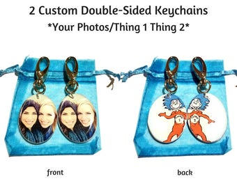 2 Double-Sided Custom Thing1 Thing2 Best Friend Keychains - Matching Best Friend Gifts - Personalized Photo Pendants - Special Photo Gift