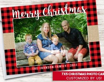 Christmas Photo Card Red Plaid Burlap Lumberjack Buffalo Digital 7x5 Rustic Holidays