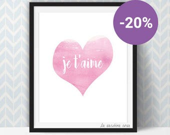 SALE Je t'aime print, pink heart printable wall art, girl room decor, I love you art, french quote print  #0009P